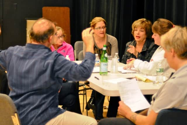 "Darien Arts Center Stage Committee members meet to plan for their next production, ""On Golden Pond."""