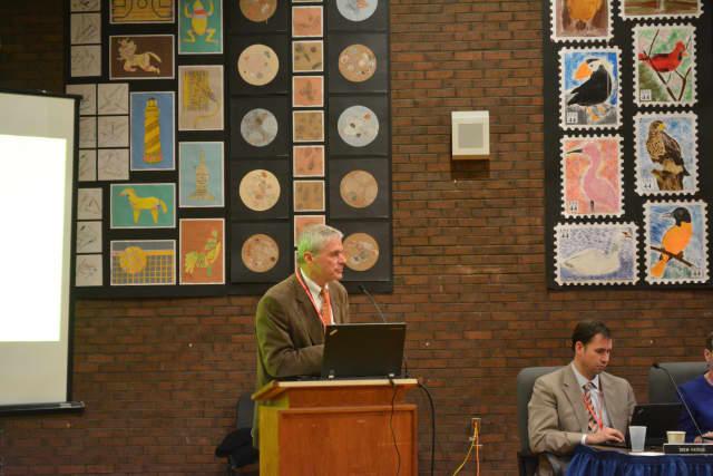 Bedford Schools Superintendent Jere Hochman speaks at a recent budget presentation.