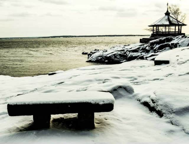Manor Park in Larchmont after the Juno snowstorm. More snow is expected Sunday night.