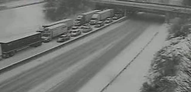 A look at the closed northbound lanes on I-95 in Rye on Monday.