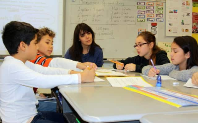 Parent and leadership team member Christine Praino observes a class at Grady Primary School.