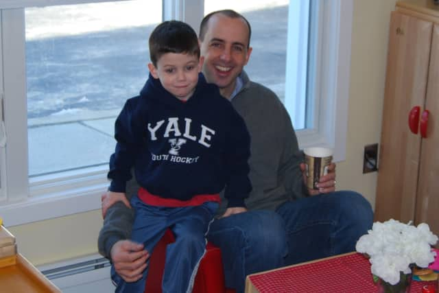Jack and John McAuliffe enjoy Dad's Day at Methodist Family Center Preschool.