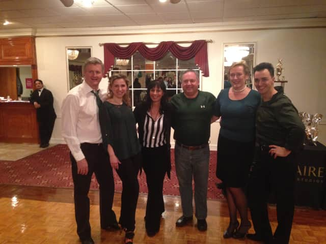 From left, Sam Gault (star dancer), Anastasia  Zhitova  (dance professional), Gina Geothche (Fred Astaire Studio owner and professional), Tony Aitoro (star dancer), Theresa Polley (star dancer), Manual Trillo (dance professional).