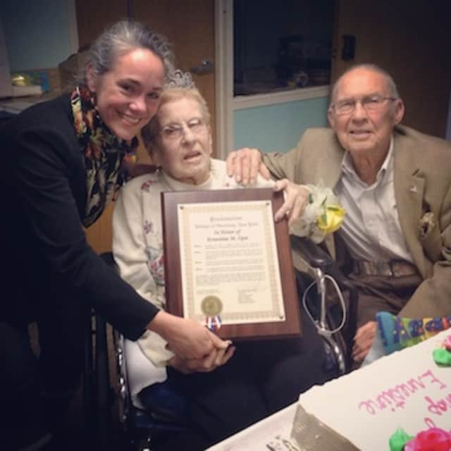 Ernestine M. Opie celebrated her 100th birthday, along with her husband, Jay Opie and Ossining Mayor Victoria Gearity