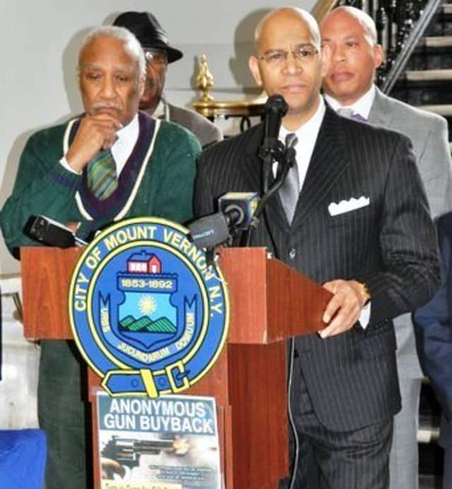 Mount Vernon Mayor Ernie Davis; Westchester County Crime Stoppers Chair Derickson K. Lawrence and Police Commissioner Terrance Raynor announcing the anonymous gun buyback.