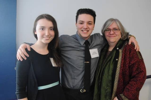 Jordan Hudock, Jazz Munitz, and teacher Christine Rogers, who teaches scientific research at Hendrick Hudson High School.