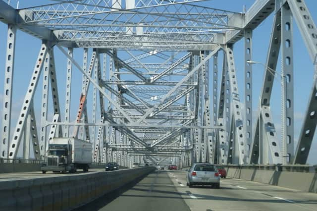 A car fire near the toll plaza on the Tappan Zee Bridge slowed traffic Wednesday morning.