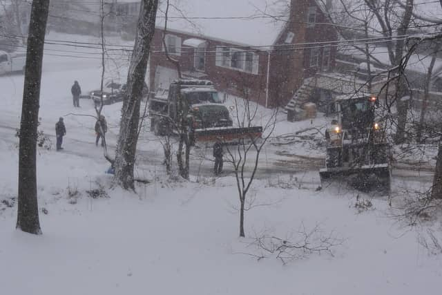The driver of a snowplow truck crashed into a telephone pole in Pleasantville on Sunday morning.