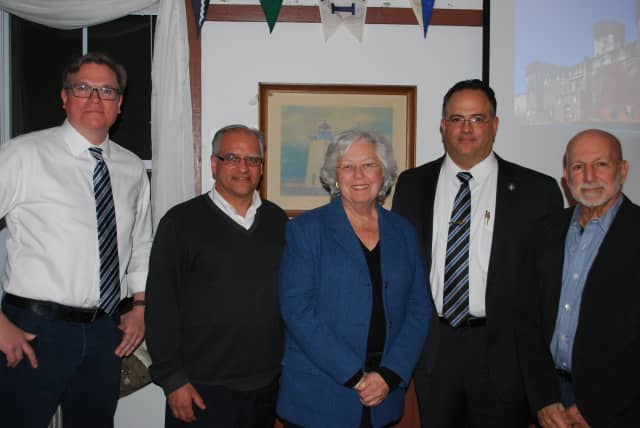 From left, Sean Kelley of Eastern State, Jerry Faiella of HHRT, Assemblywoman Sandy Galef, Sing Sing Superintendent Michael Capra, and historian Roger Panetta of Fordham University.