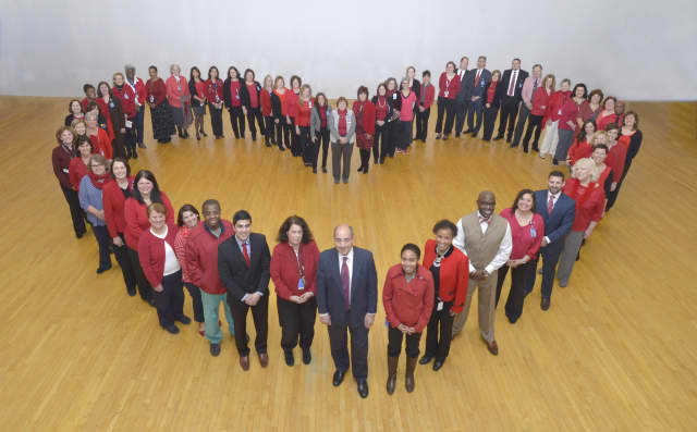Employees at Westchester Medical Center in Valhalla, New York, showed support recently for American Heart Month and National Wear Red Day by creating one of the Hudson Valley's largest human hearts.