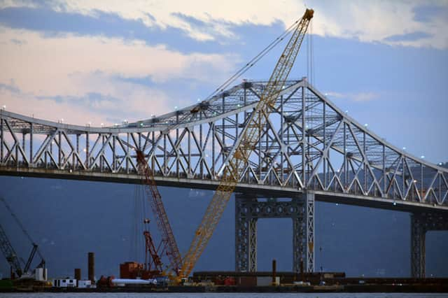 Frigid temperatures have slowed construction efforts on the new Tappan Zee Bridge.