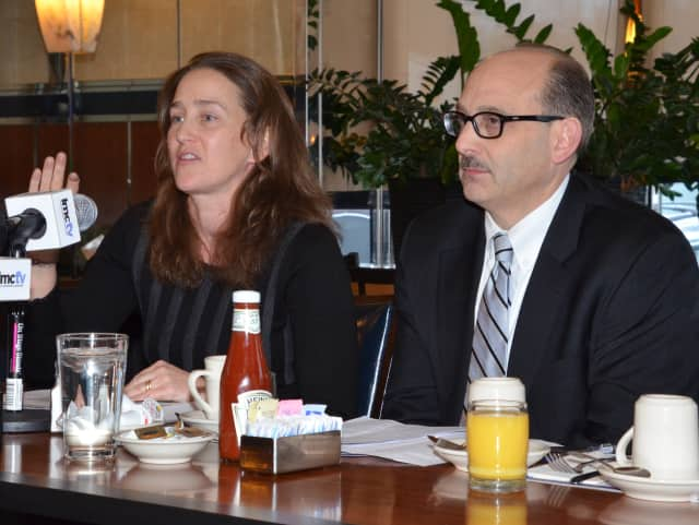 Meg Käufer, president of the STEM Alliance of Larchmont-Mamaroneck and Mamaroneck Schools Superintendent Robert Shaps spoke at the meeting.