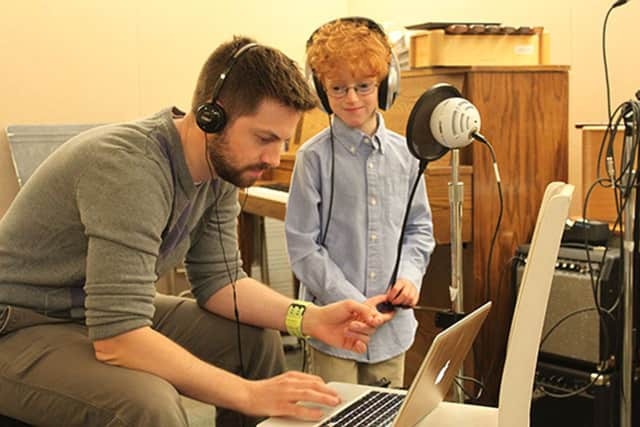 Matthew Welling with his music teacher, James Maxson.