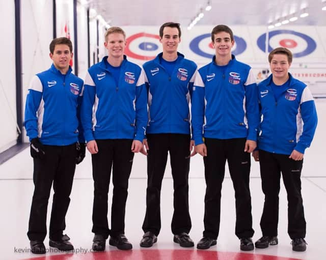 Andrew Stopera (second from right), with his curling team, Team Dropkin.