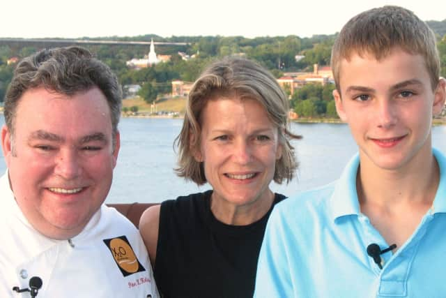 Chef Peter X. Kelly with his wife, Ricca, and son, Dylan.