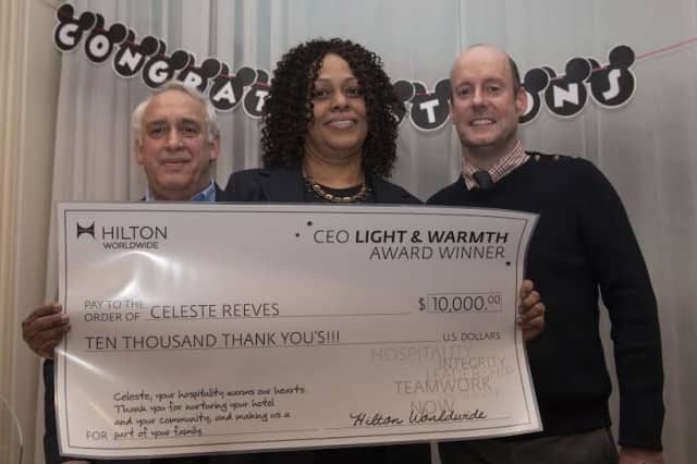 Celeste Reeves, catering manager at the DoubleTree by Hilton Tarrytown, was honored with the Hilton's CEO Light & Warmth Award.