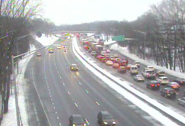 I-95 north is jammed near Davis Drive in Greenwich on Monday morning.
