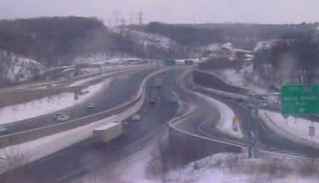 Conditions on I-287 in Elmsford on Monday morning.