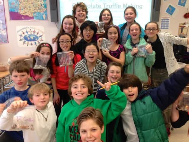 Briarcliff Middle School French students made chocolate truffles during class to take home to their families for Valentine's Day.