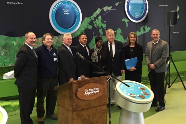 Officials from the city of Norwalk, Norwalk Public Schools and the Maritime Aquarium announce the launch of the Mayor's Student Engineering and Science Program this summer at the aquarium.