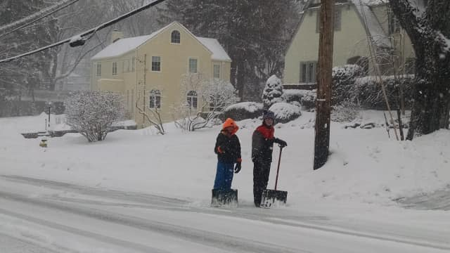 Two Hommocks Middle School students went to work on their snow day off Thursday.