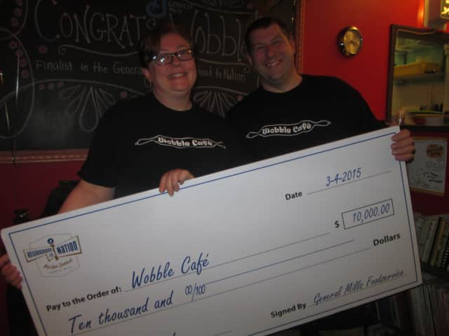 Beylka Krupp and Rich Foshay of Wobble Cafe after being named a finalist in a General Mills contest.