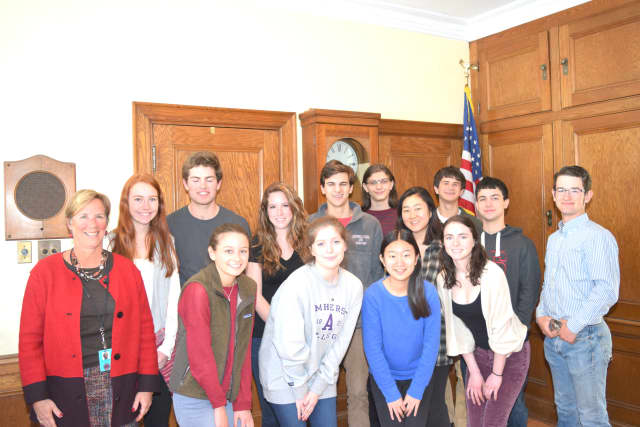 The 14 Rye High School students who are finalists in this year's National Merit Scholarship Program Competition.