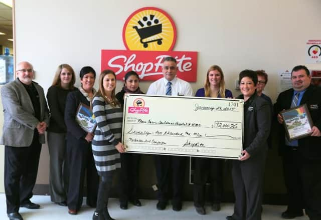 ShopRite store representatives from Carmel, Bedford Hills, Cortlandt Manor and Poughkeepsie presented Maria Fareri Children's Hospital with a check to help aid in the care of seriously ill children at the hospital.