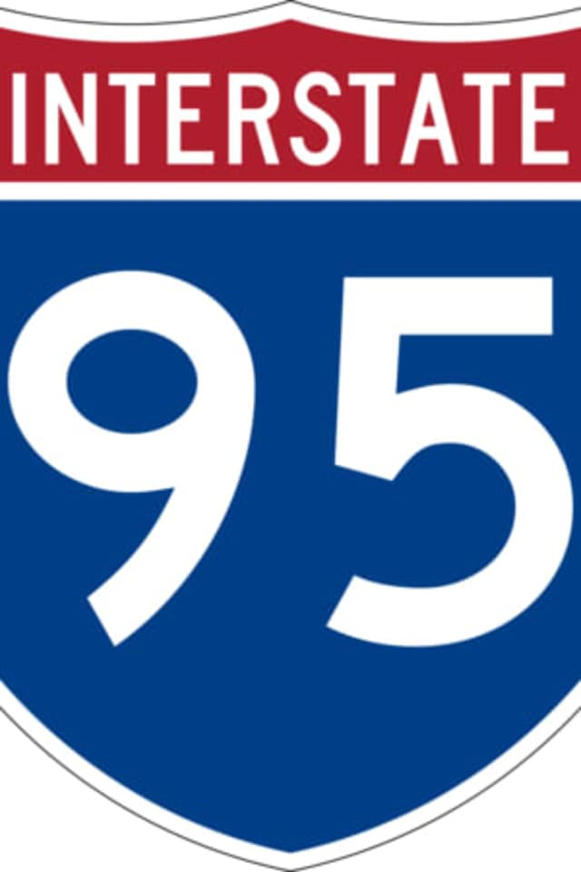 A woman was injured on Interstate 95 when a slab of concrete broke through her windshield in Larchmont.