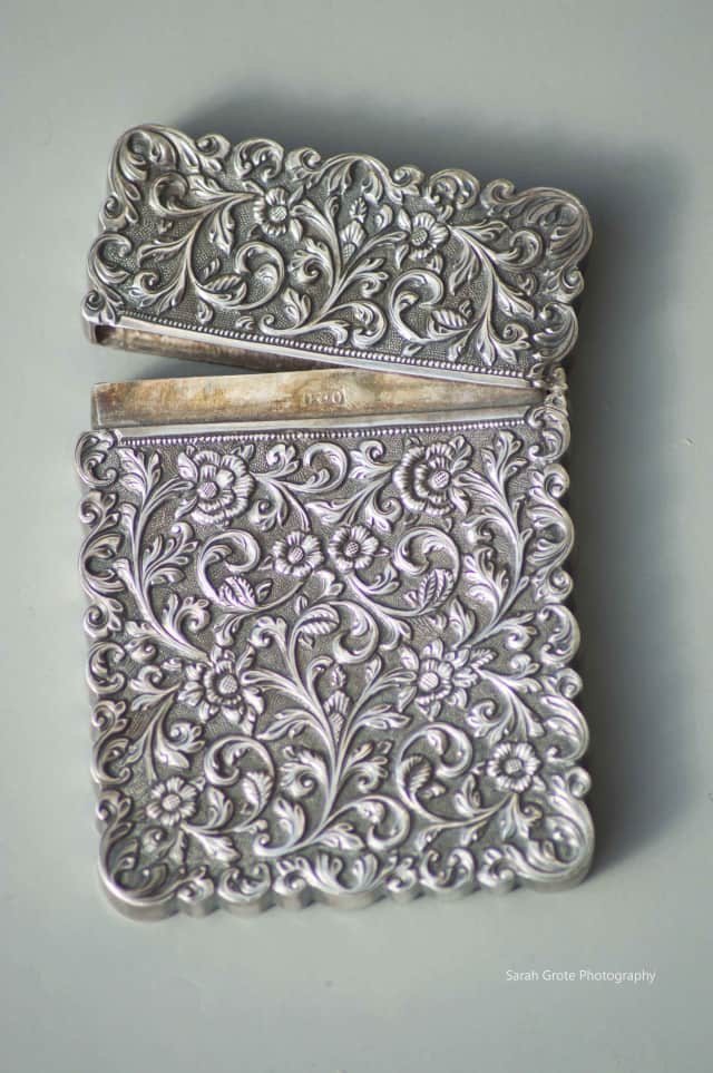 Silver calling card holder,circa 1860-1890, The Lockwood-Mathews Mansion Museum Collections.