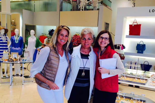 Kristen Jensen, Gina Zangrillo and Susan Cator meet to plan the March Chamber of Commerce networking event at the Darien Sport  Shop.