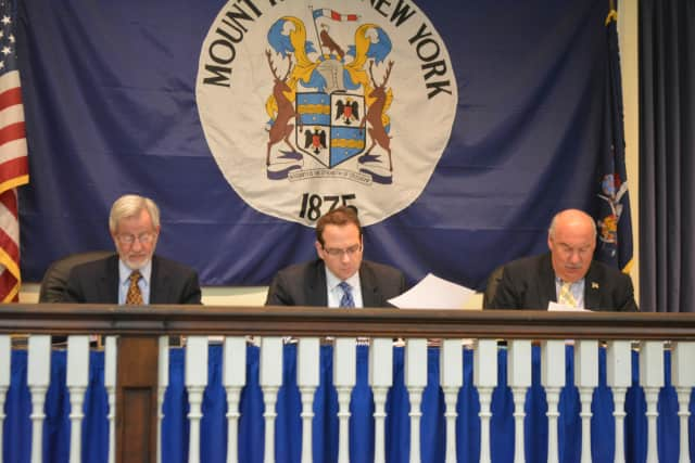 Mount Kisco Village Board members at a recent meeting.