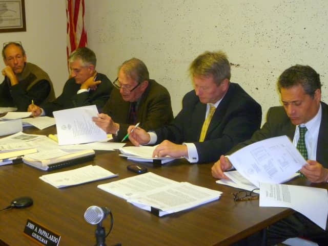 The Lewisboro Town Board listens to the town Justice Court budget presentation given by Justices Marc Seedorf and Sue Simon.