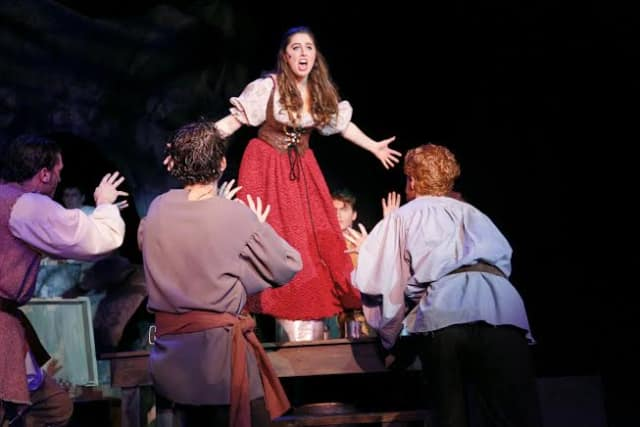 """Liana Frasca, a senior at Pleasantville High School, performs in """"Man of La Mancha."""" The show concludes with two performances this weekend."""