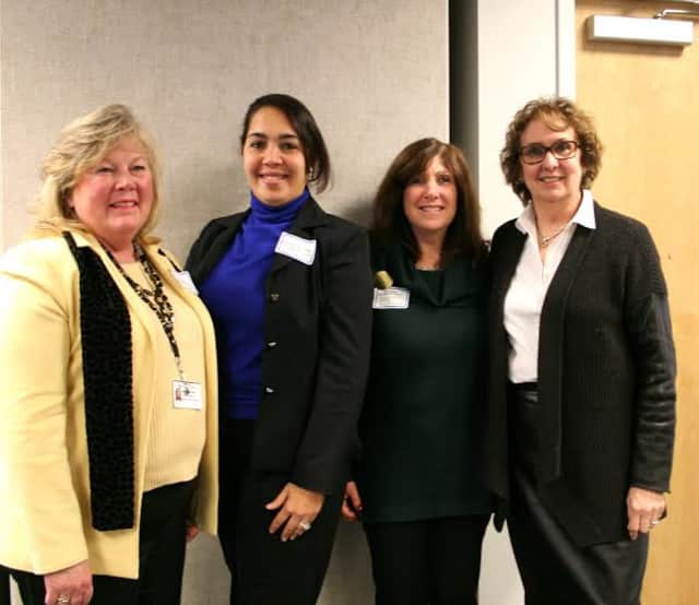 From left, SWBOCES Chief Operating Officer and Deputy Superintendent Sandra A. Simpson, Madeline Paneto-Gonzalez, Dixson/Grady librarian Kim Sparber and Pam Berger, director of the SWBOCES School Library System.