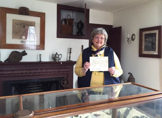 Natalie Weise, a Danbury Museum & Historical Society board member, has donated a historic document to the museum's archives.