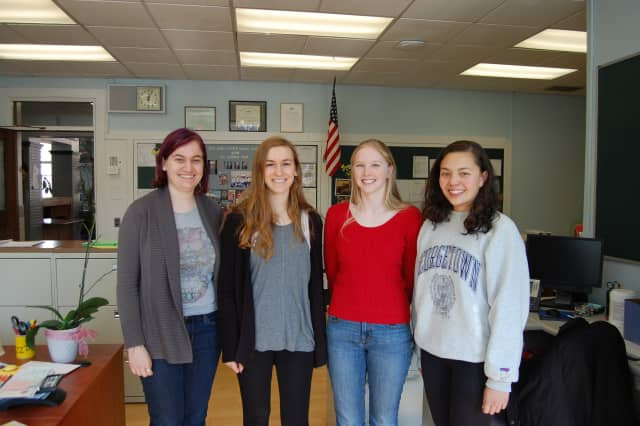 From left, Hastings High School students Emily D. Broude, Anna Karmel, Julia Wray Morriss, and Gabriella A. Wan met all the requirements to advance to the final round of the National Merit Scholarship competition.