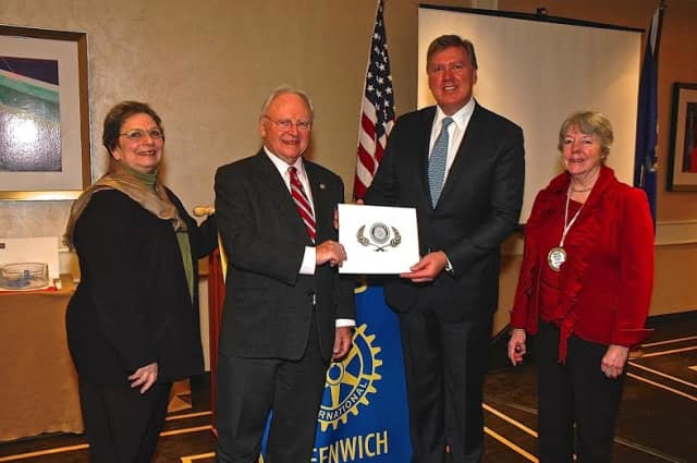 From left, Greenwich Rotary Club members Linda Baulsir and Dieter Blennemann, Heart Care International Founder and CEO Dr. Robert Michler of Riverside, and Rotary Club President Sally Parris.