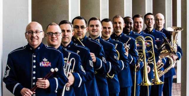 The U.S. Air Force Heritage Brass Band is made up of 10 brass players and a percussionist.