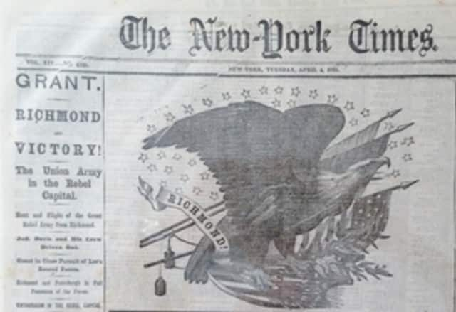 The Darien Historical Society's new exhibit will celebrate the New York Times coverage of events occurring in April 1865.