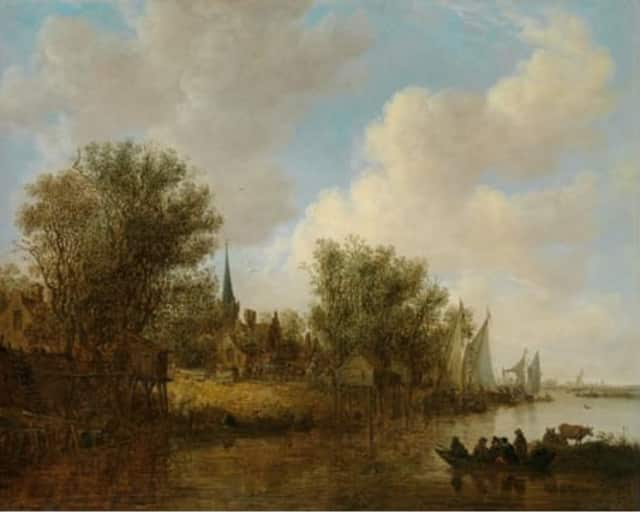 A River Landscape with a Parish Church by Jan van Goyen dates to 1651. It is part of the Northern Baroque Splendor exhibit at the Bruce Museum in Greenwich.