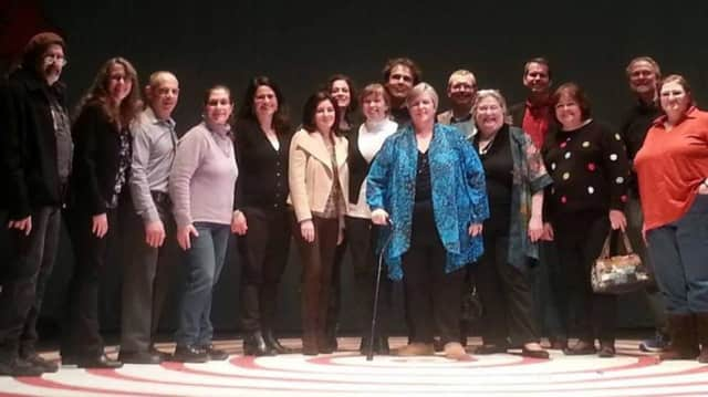 Clare Carey, front row in turquoise jacket, and Hen Hud castmates from 1979, reunited at the March 6 performance of Seussical at Hendrick Hudson High School.