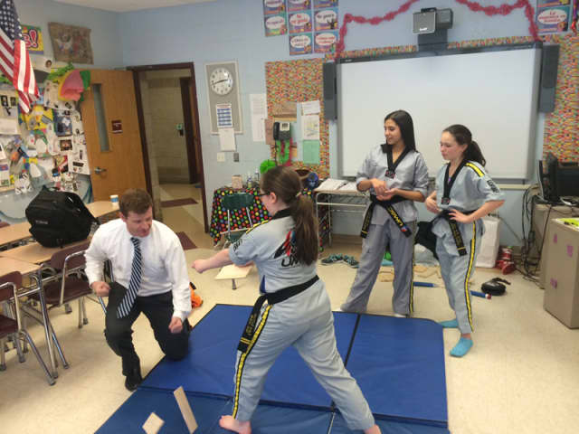 A martial arts demonstration was part of the Briarcliff Middle School International Club's Chinese New Year program.