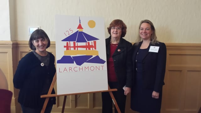 Winning artist Sue Girardi-Sweeney, left, with her Larchmont 125 Logo. Mayor Anne McAndrews and Westchester County Legislator Catherine Parker of Rye are to the right. The 125th anniversary celebration is Sept. 23-25.