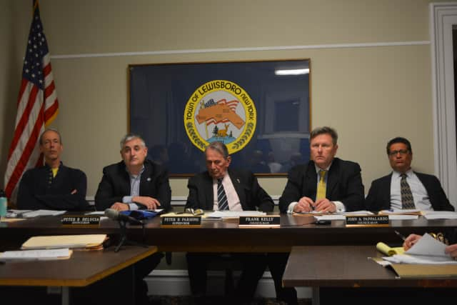 Lewisboro Town Board members at a meeting earlier this month.