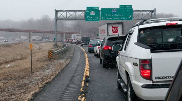 Traffic is stopped on I-84 near the I-684 interchange Friday afternoon after an accident near Exit 20.