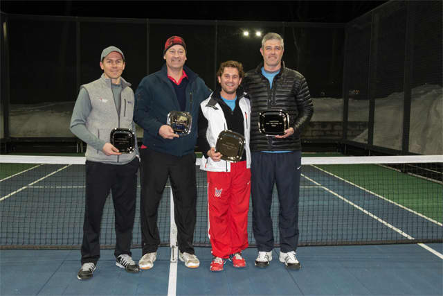 From left to right: Runners-up Brian O'Hara and R.P. Beuerlein with winners Rob Blosio Jr. and Colin White at Battle with a Paddle, a fundraiser for AmeriCares on March 7.