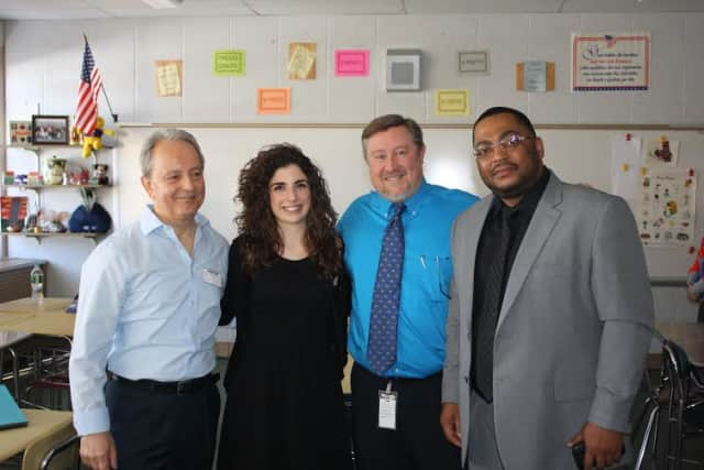 From left to right: Guest speaker Giuseppe Stillo, Italian teacher Vittoria Stillo, Valhalla High School Principal Jon Thomas, Valhalla Middle/High School Principal Kevin McLeod.