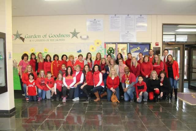 B-V faculty and staff wore red on March 20th in support of a young North Carolina boy with cancer.