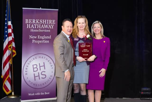 Left to right are Gino Blefari, CEO, HSF Affiliates; Nancy Pantoliano, Norwalk Office Leader and Candace Adams, President & CEO Berkshire Hathaway HomeServices New England Properties.